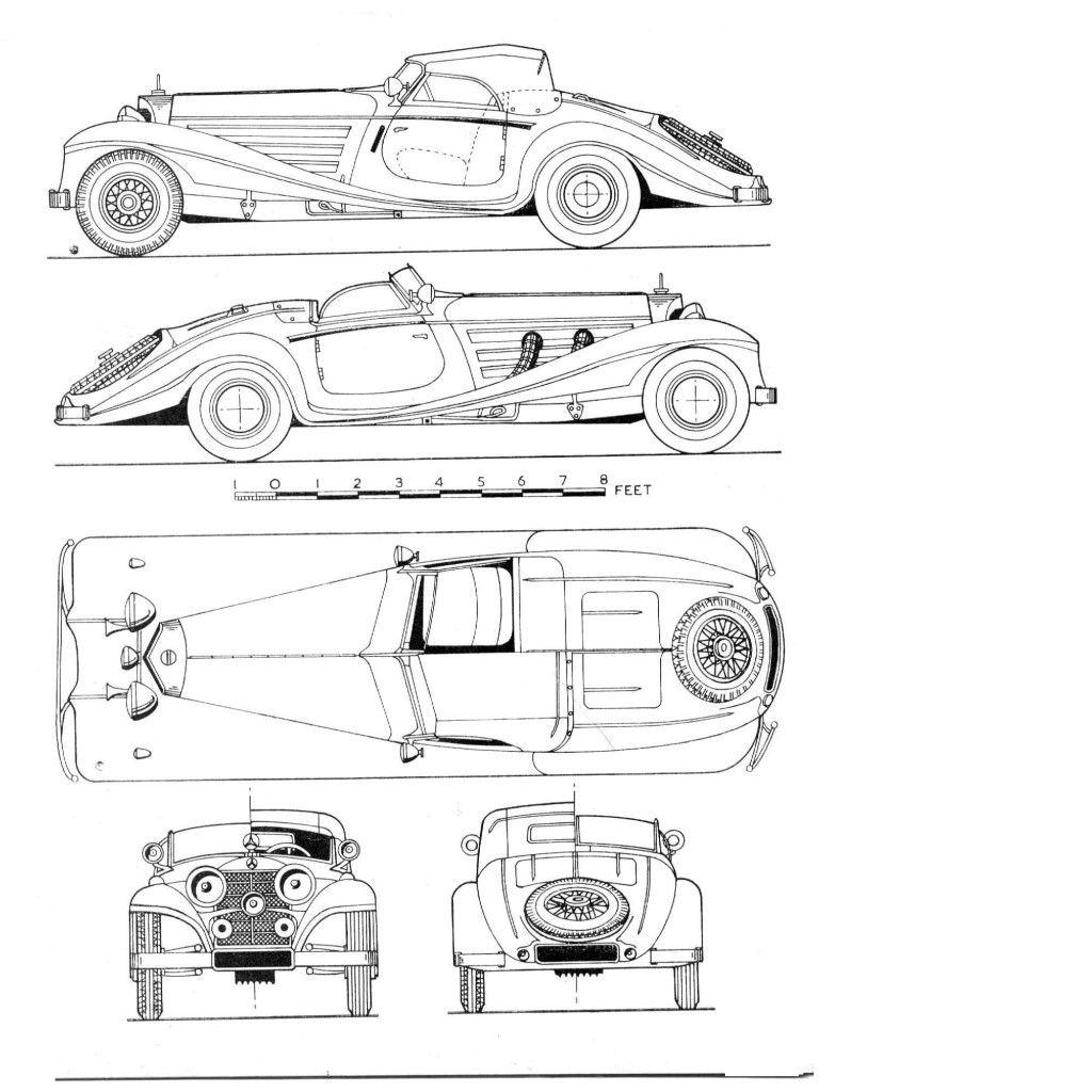 Mercedes Benz 540k Blueprint