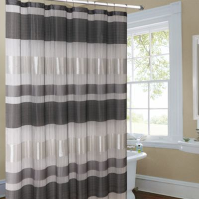 Metallic Striped Silver Fabric Shower Curtain Gray Shower