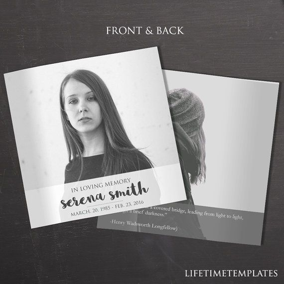 Square Funeral Program Template - Black \ White Booklet Style - download funeral program templates