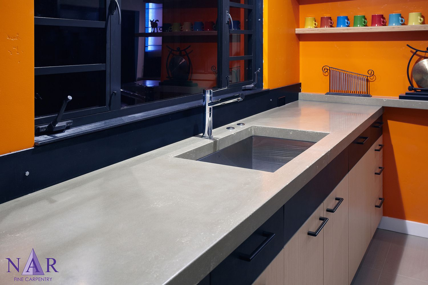 Concrete Counter Tops Complement The Window And Modern Undermount Stainless Steel Sink Narkitchens