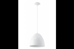 Eglo 92717 Coretto 1 Light Bell Shaped White Steel Pendant Light