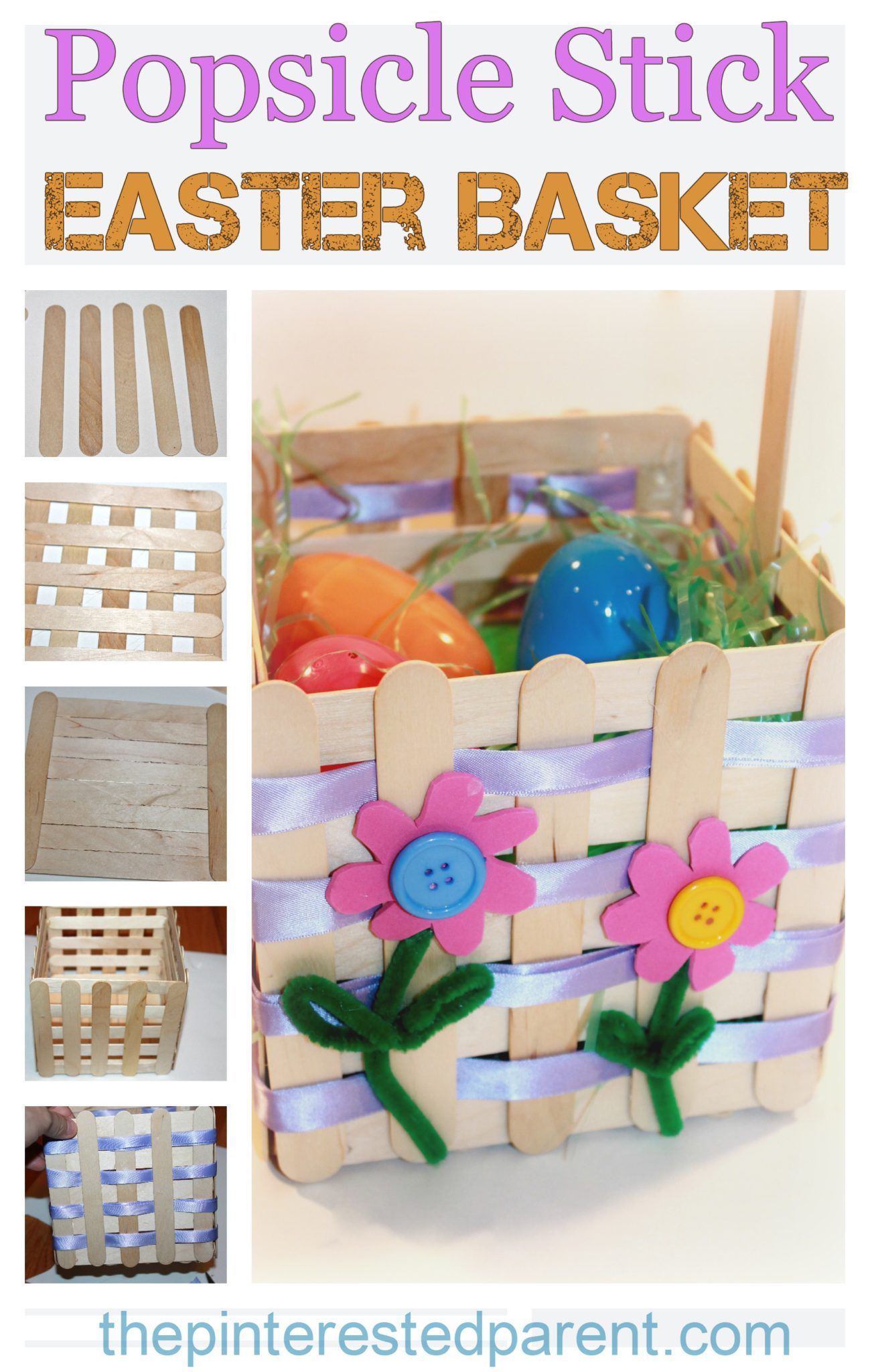 Popsicle Craft Stick Easter Basket Craft A Pretty