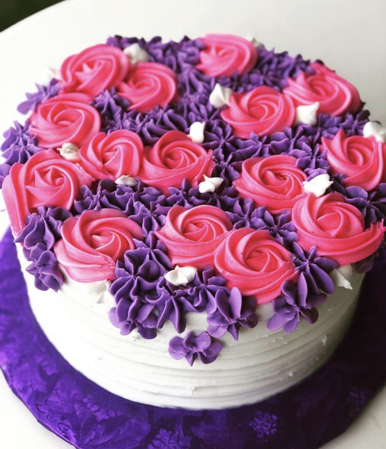 Pink And Purple Flowers Cake With Images Purple Cakes Birthday