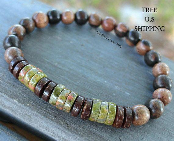 Mens Unakite, Tigerwood, wrist mala, wood mala, Mala bracelet, Energy bracelet, Tribal bracelet, Unakite bracelet, Healing, reiki, nature