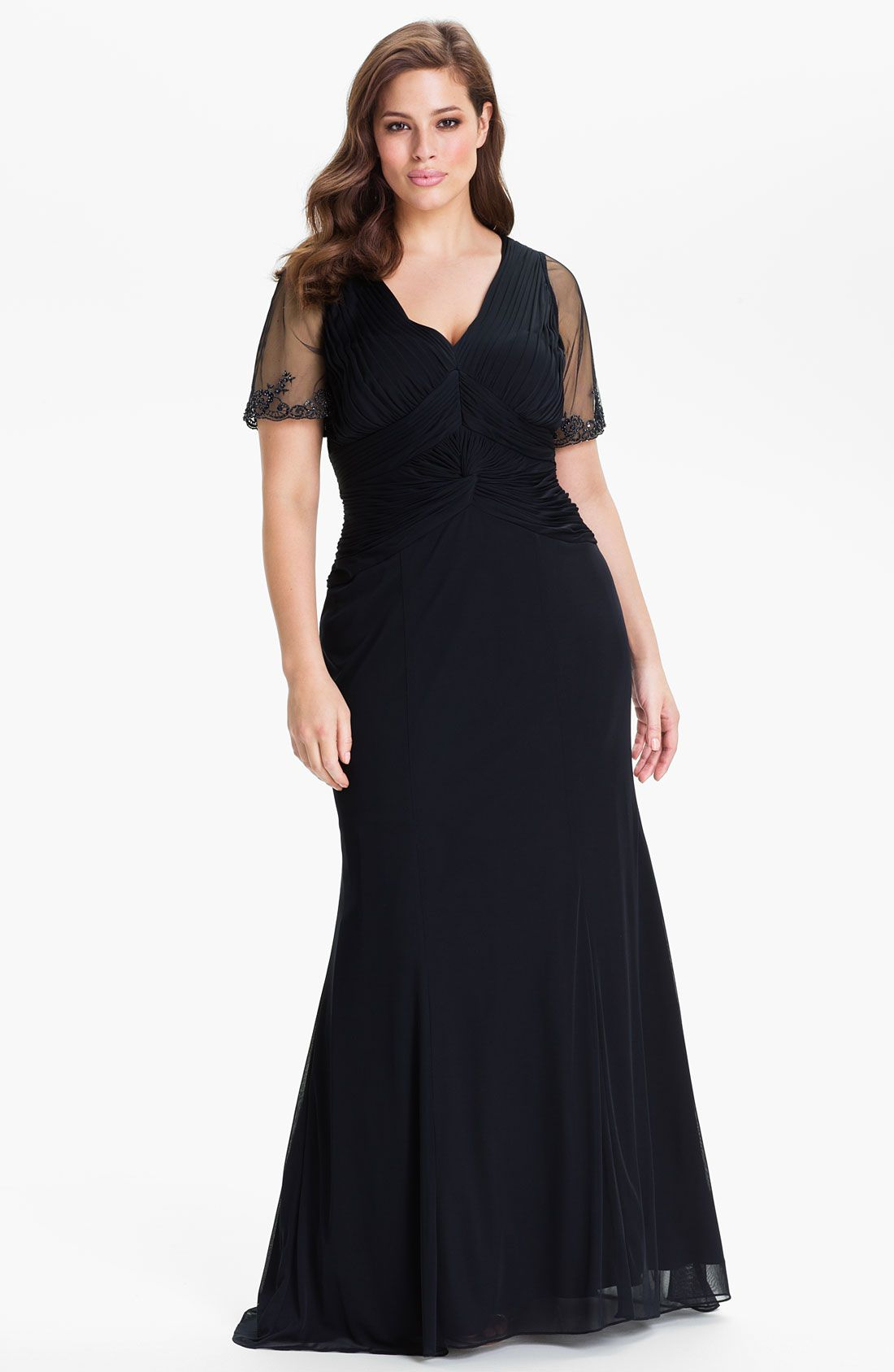 Adrianna Papell Mesh Overlay Mermaid Gown (Plus) | Nordstrom | For ...