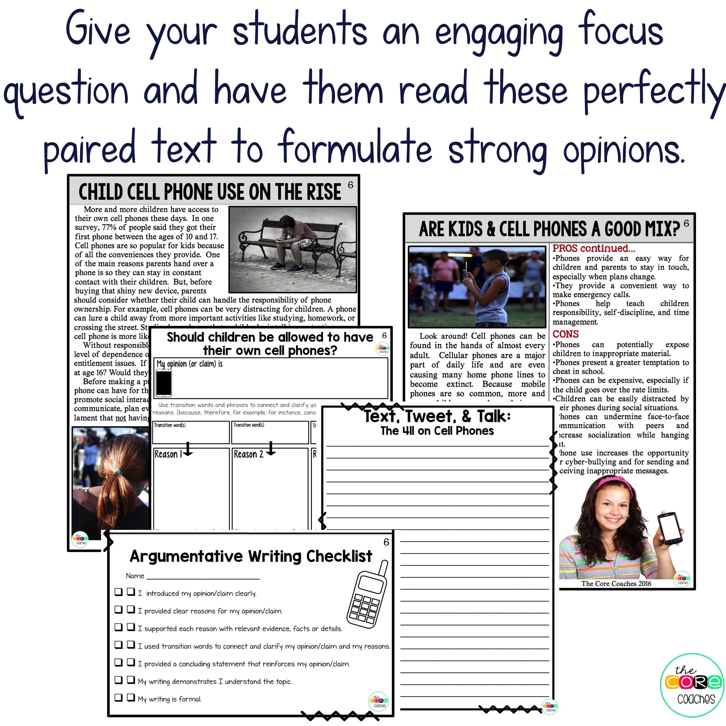 Cell Phones Paired Texts Writing On Demand Opinion Argumentative Essay Editable
