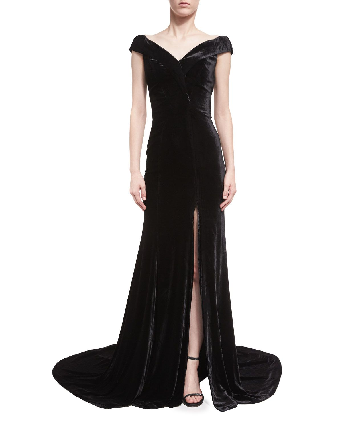 Neiman marcus dresses for weddings  Violetta Velvet OfftheShoulder Gown  Products  Pinterest