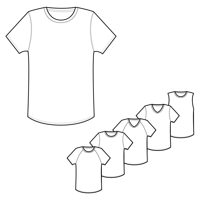 Mens Classic & Raglan Tee Shirt Technical Drawings | Illustrations ...