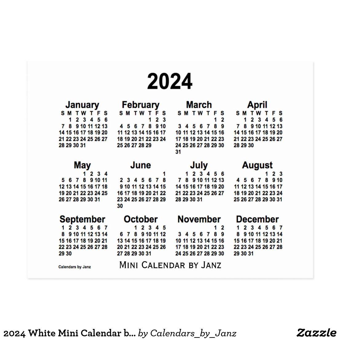 2024 White Mini Calendar By Janz Postcard Zazzle Com Custom