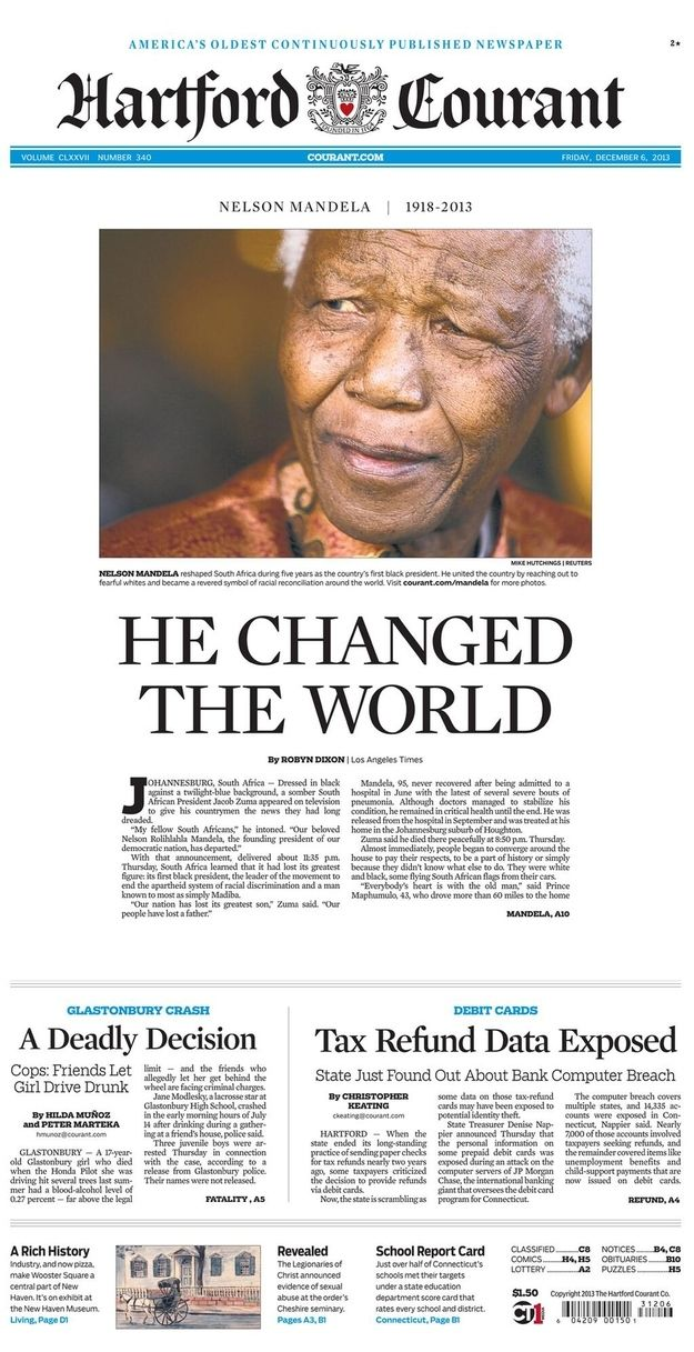 Nelson Mandelau0027s Death, As Told By Newspaper Front Pages RIP - newspaper headline template