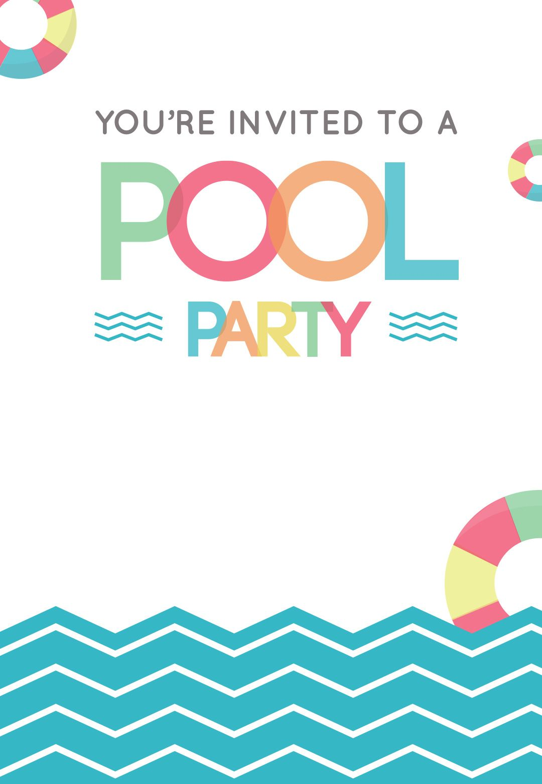 graphic regarding Pool Party Printable called Entertaining Afternoon - Totally free Printable Summertime Occasion Invitation