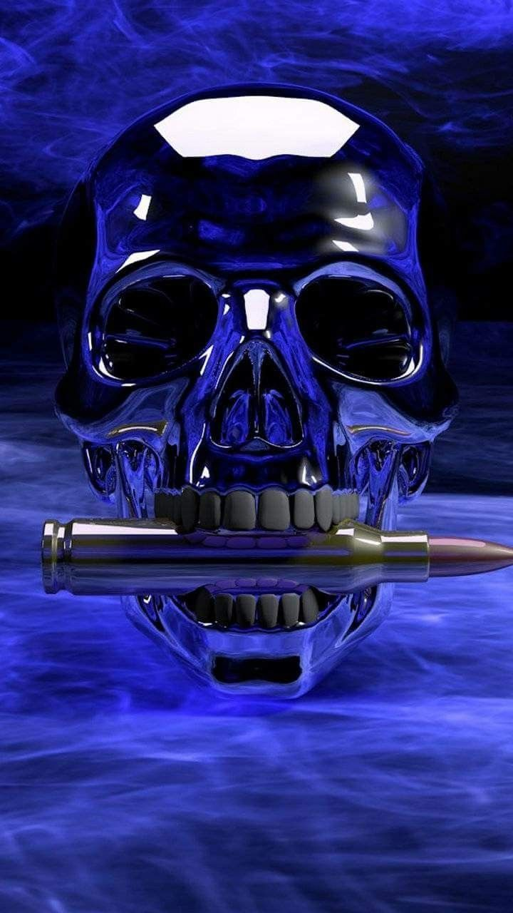 Blue Skull With Bullet Wallpaper