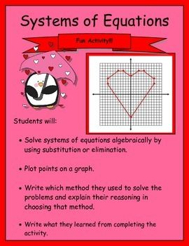 Systems of Equations Activity (Substitution or Elimination
