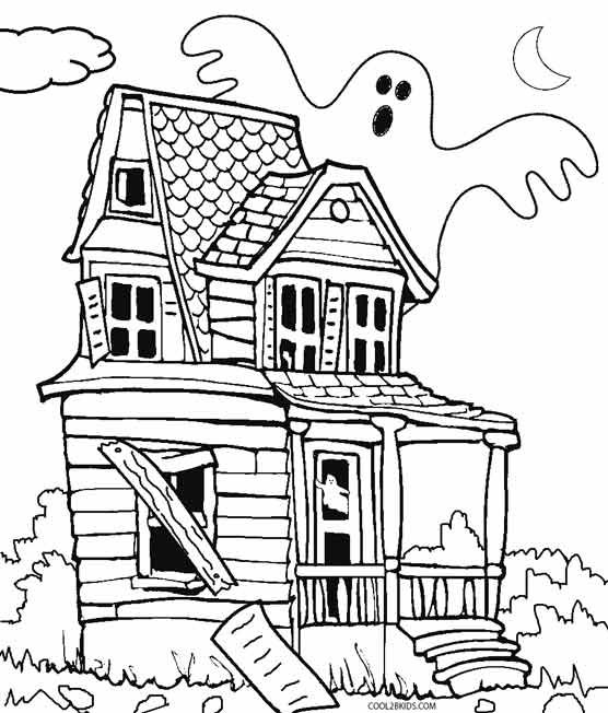 Printable Haunted House Coloring Pages For Kids Cool2bkids House Colouring Pages Haunted House Drawing Halloween Coloring Pages