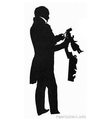 A self-portrait in cut paper by Auguste Edouart, a prominent French silhouettist who traveled through England and America in the early 19th century