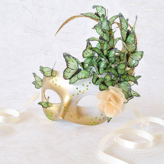 Venetian Mask of Peridot Butterflies  A Rose. Gold, Green  White. Light  Sparkling Accents Delight The Imagination! http://www.dancinfeelin.com/