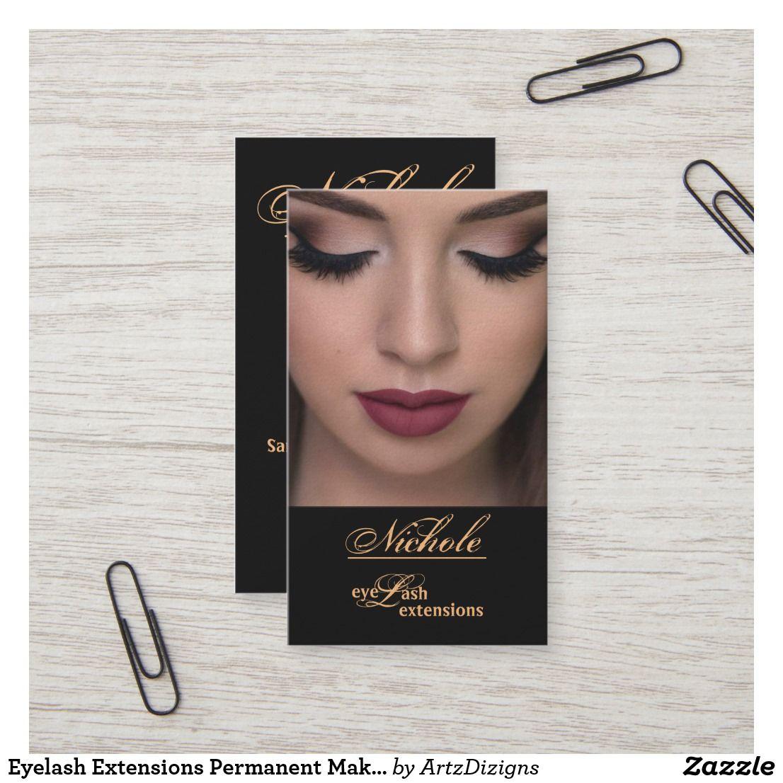 Eyelash extensions permanent makeup business cards