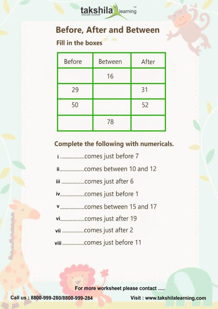 CBSE & NCERT Worksheet for class 1 Maths & 1 Grade ...
