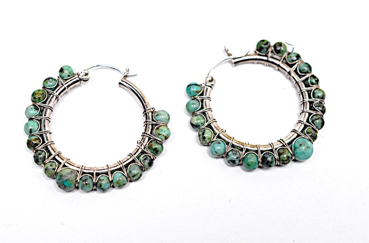 Bergdorf goodman sterling silver turquoise hoop earrings free