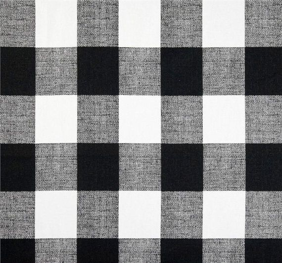 Black White Buffalo Check Fabric By The Yard Designer Cotton Drapery Curtain Or Upholstery Plaid