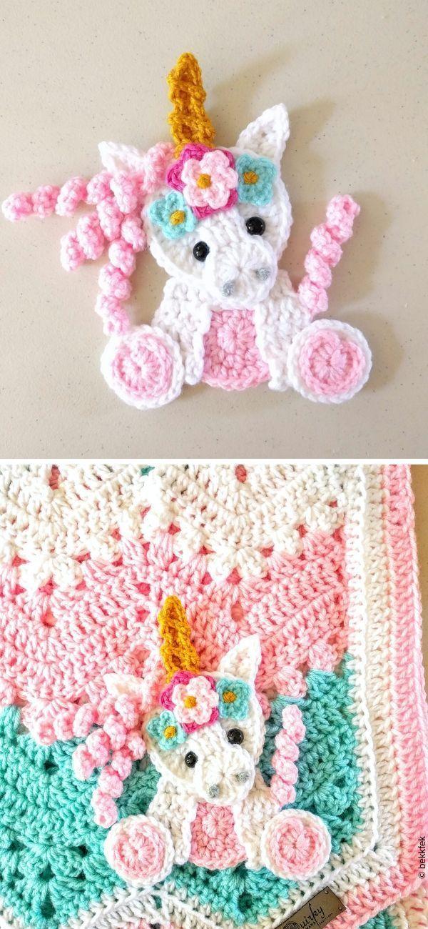 Magical Unicorn Applique Crochet Pattern, #applique # ...