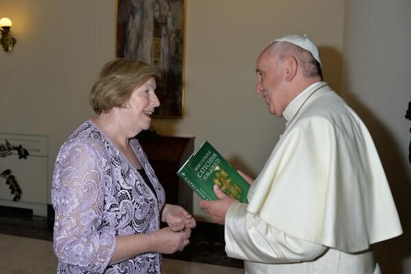 Now Holy Father learn that off by heart MauraHyland of Veritas presents new Irish Adult Catholic Catechism to Pope