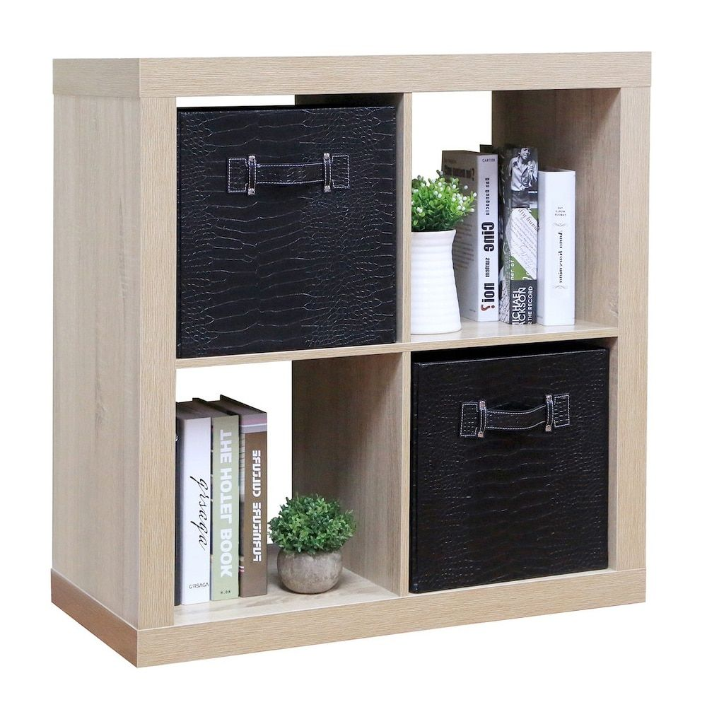 Tidy Living Stackable 4 Cube Organizer Natural