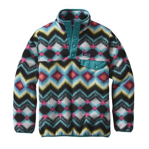Patagonia, Girls' Lightweight Synchilla Snap-T Fleece Pullover, Timber Twist: Violet Red, XS