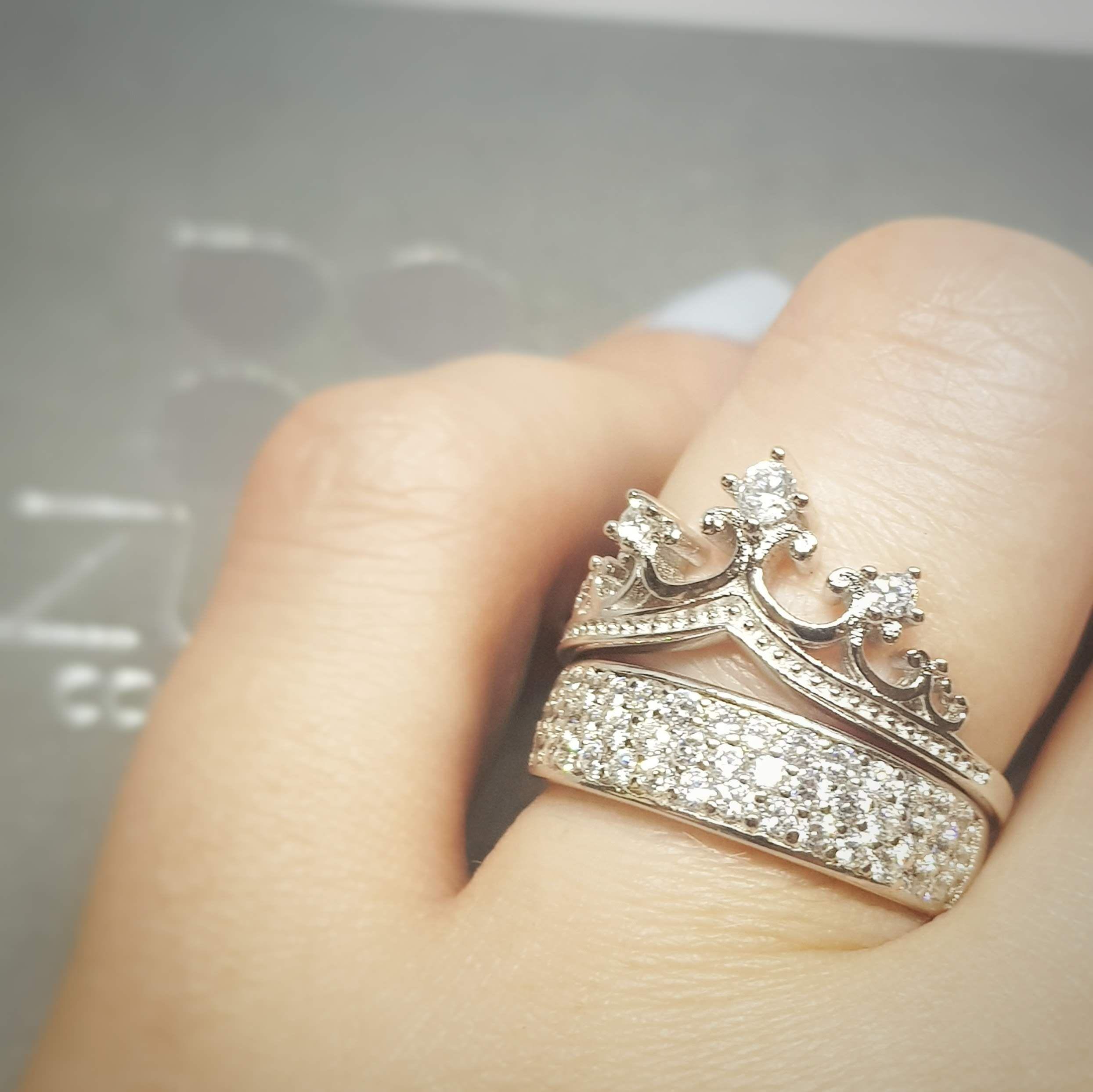 Anillo de mujer 925 Sterling plata 4 circonita; anillo de plata