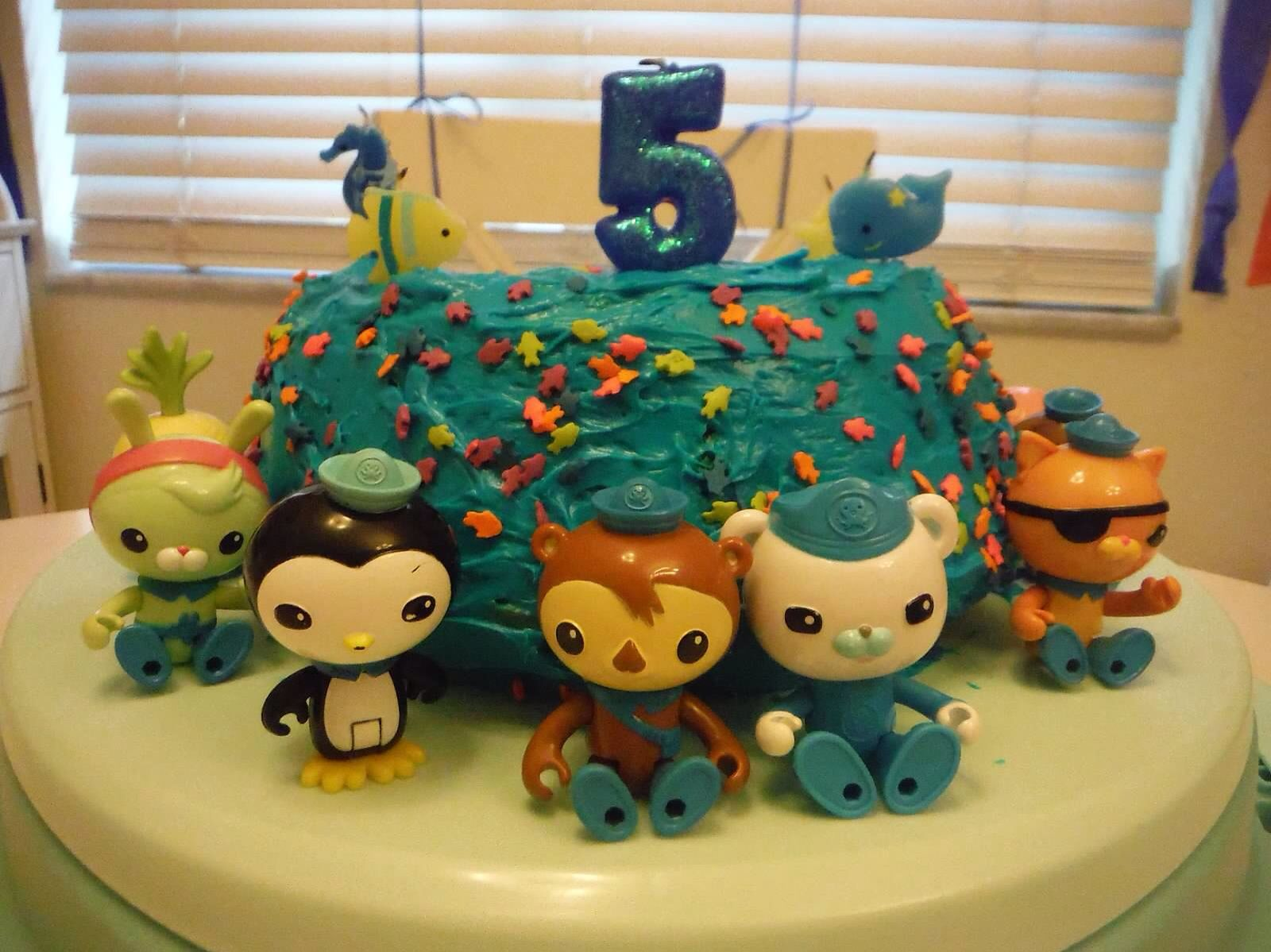 Homemade Octonauts Bundt Cake With Fish Themed Candles And