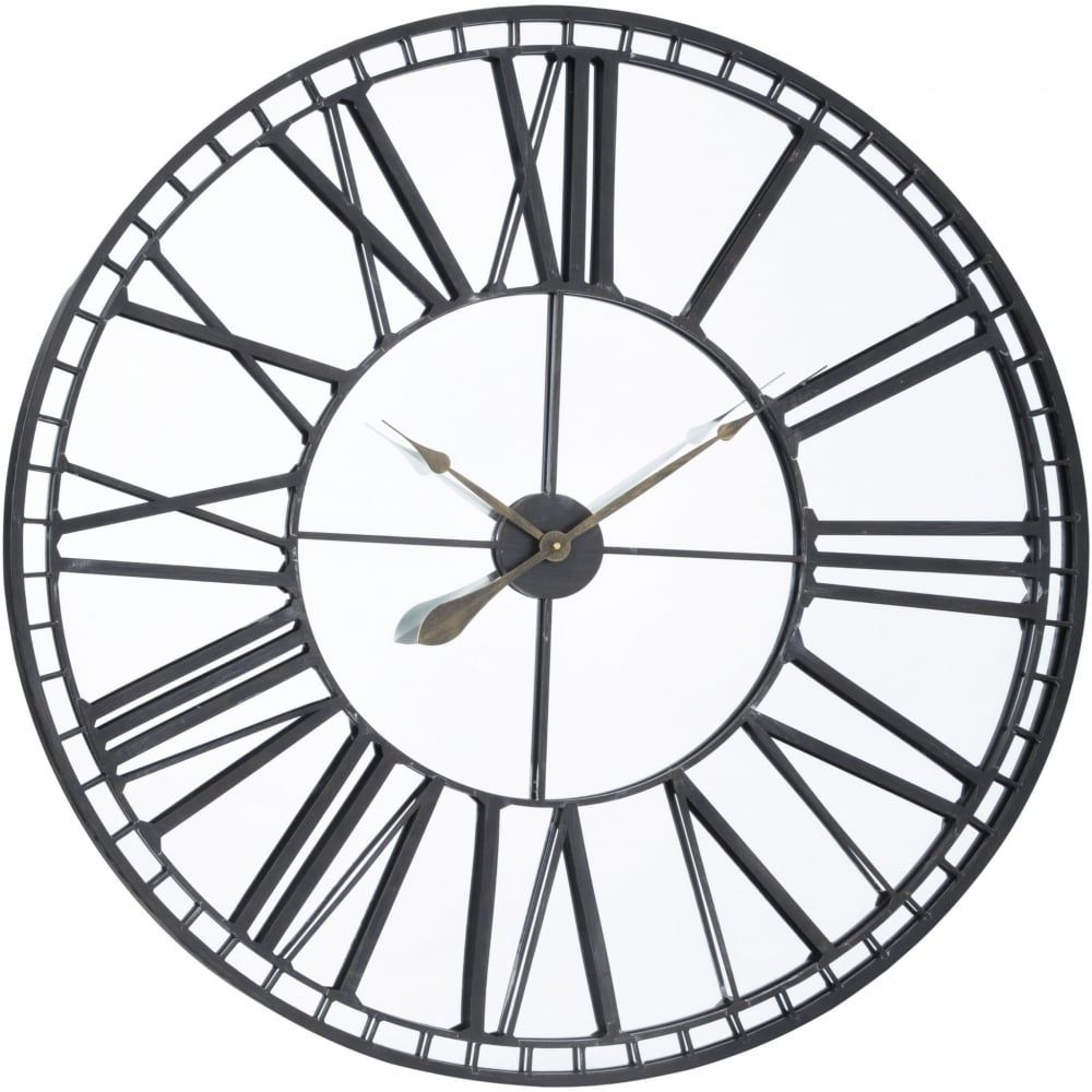 Libra Furniture Oversized Black Iron And Mirror Skeleton Wall Clock