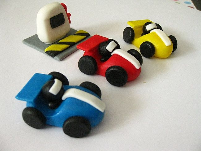 Edible Fondant Cupcake Toppers Racing Cars Race Car