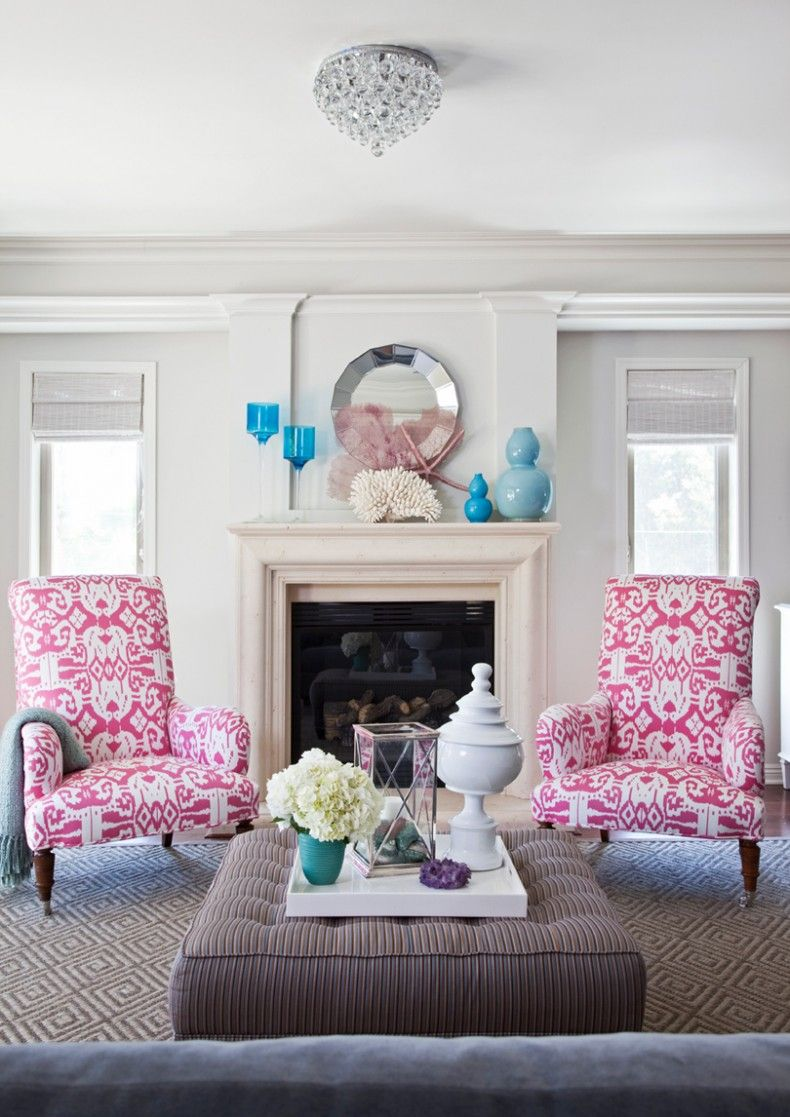 pink living room chairs. Living Room Painting Color Ideas  Chic white pink blue living room fireplace ikat chairs round