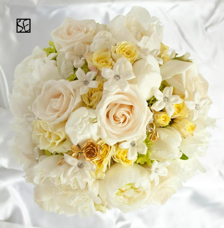 White Peonies Soft Yellow Spray Roses Vandella Roses Green Seed