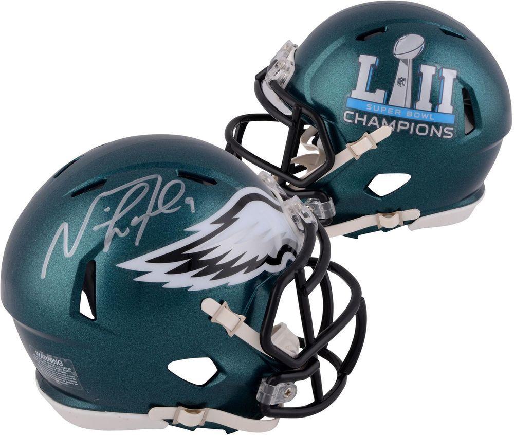 Nick Foles Eagles Signed Speed Super Bowl Lii Champions Mini Helmet Fanatics Footballh Football Helmets Philadelphia Eagles Helmet Football Helmets For Sale