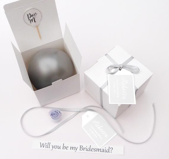 Silver Personalised balloon proposal box silver balloon will you be my bridesmaid, godmother