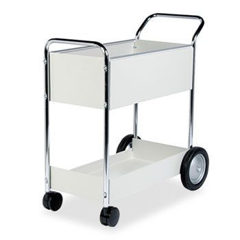 Steel Mail Cart, 150-Folder Capacity, 20w X 40-1/2d X 39h, Dove Gray