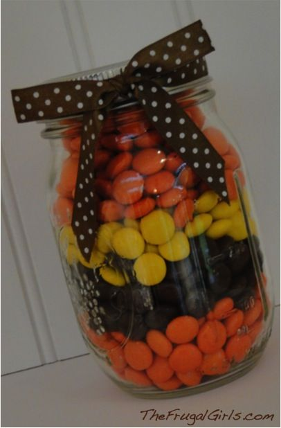 Candy Gifts in a Jar, this looks like something you would enjoy - cute halloween gift ideas