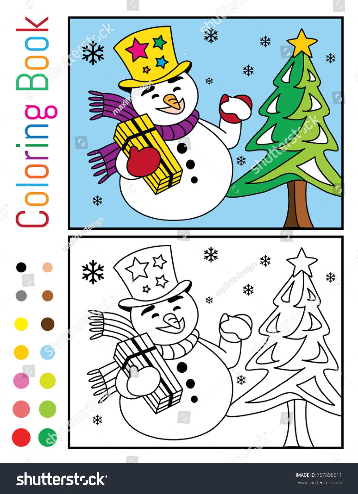snowman with gift and christmas tree coloring book vector illustration
