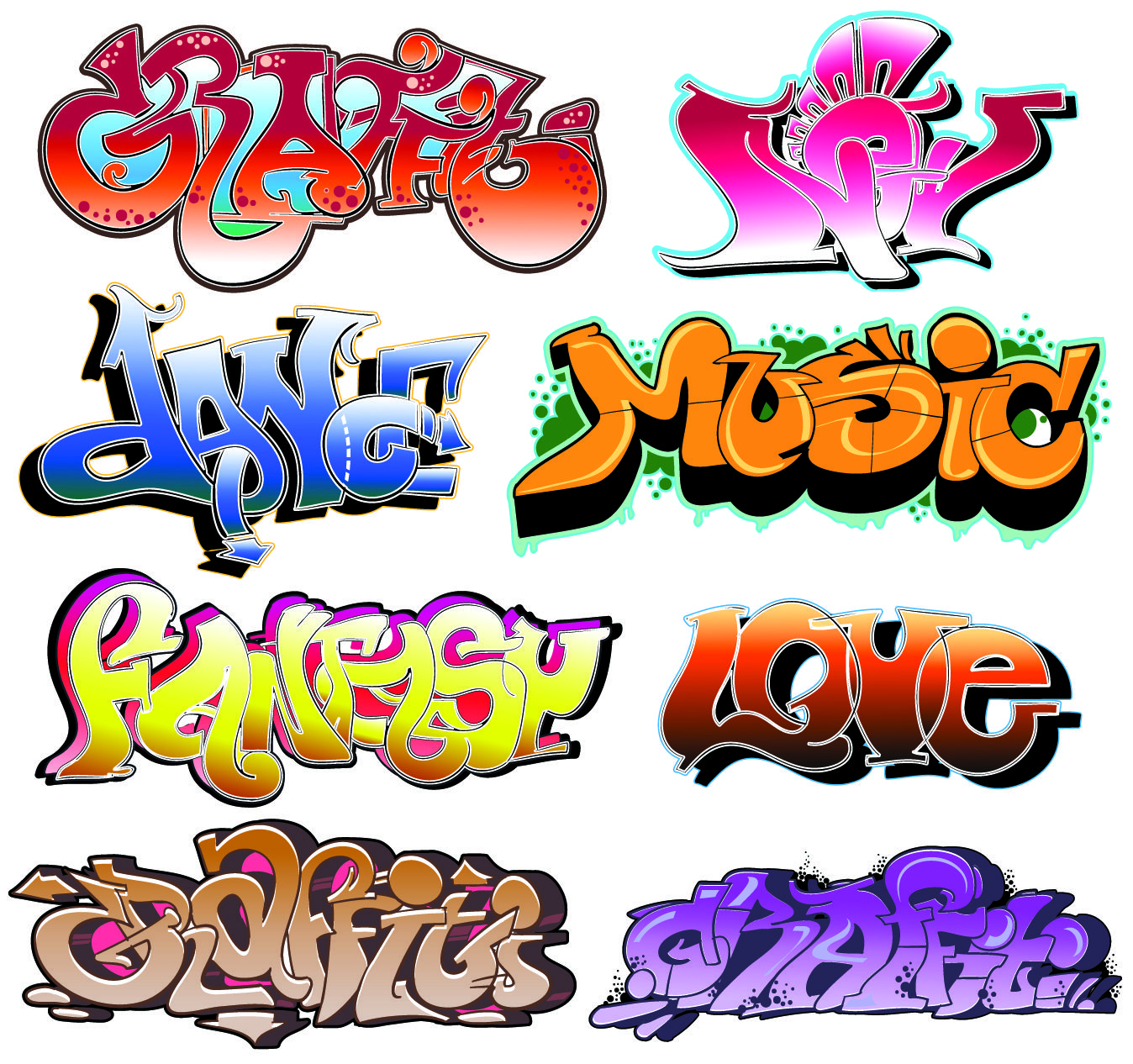free vector Beautiful graffiti font design 03 vector | Art boards ...