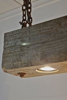 Rustic Modern hanging reclaimed wood beam light fixture with