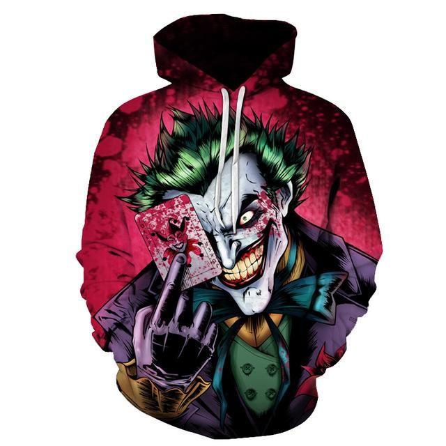 Dc Comics Hoodie Official Superhero Small Black Unisex Arkham Joker Hoody