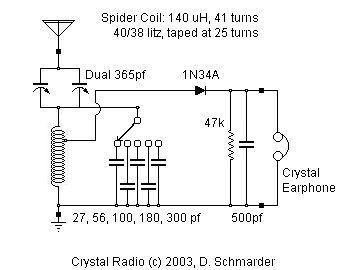 Crystal Radio Schematic | Crystal Radio in 2019 | Ham radio ... on