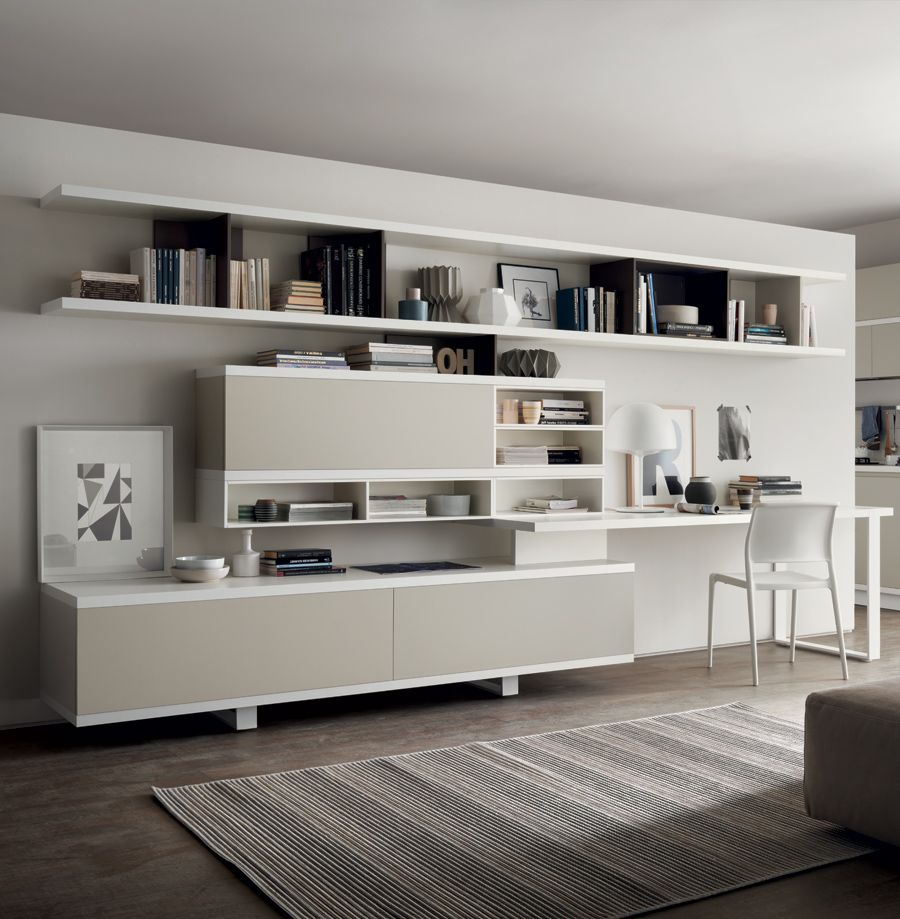 An Example Of A Separate Living Area With A Strong Contemporary Personality Underlining The Spaces Desk In Living Room Italian Living Room Living Room Office #separate #kitchen #from #living #room #ideas