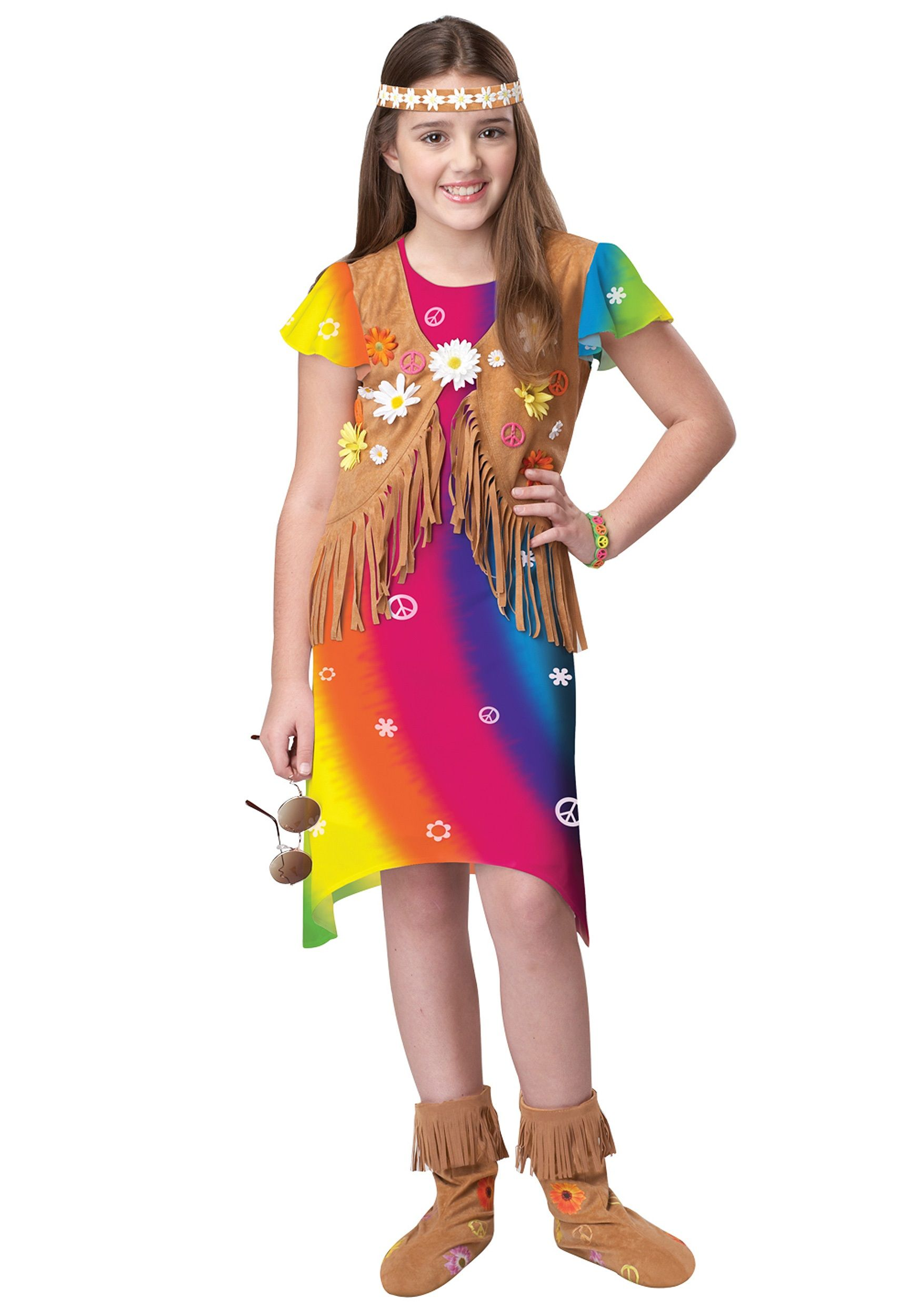 Christmas gown ideas 70s halloween - Hippy Costumes For Kids Girl Bright Hippie Girl Costume Girls 1970s Costume Ideas