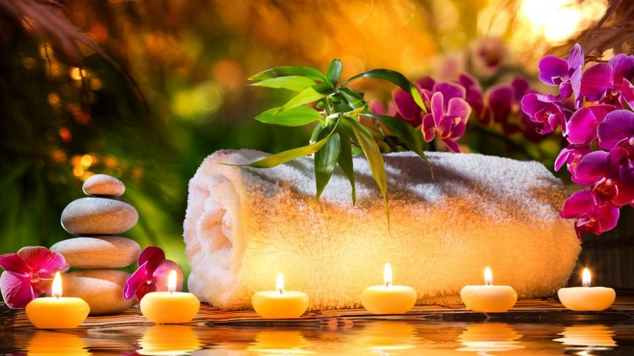 spa stones candles wallpaper hd download