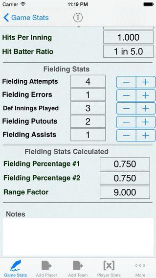 Baseball Stats & Game Statistics Tracker Offensive