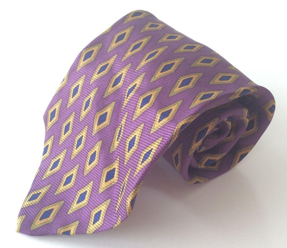 Paul Stuart Neck Tie Purple Yellow Blue Green Geometric 100% Silk #PaulStuart #NeckTie