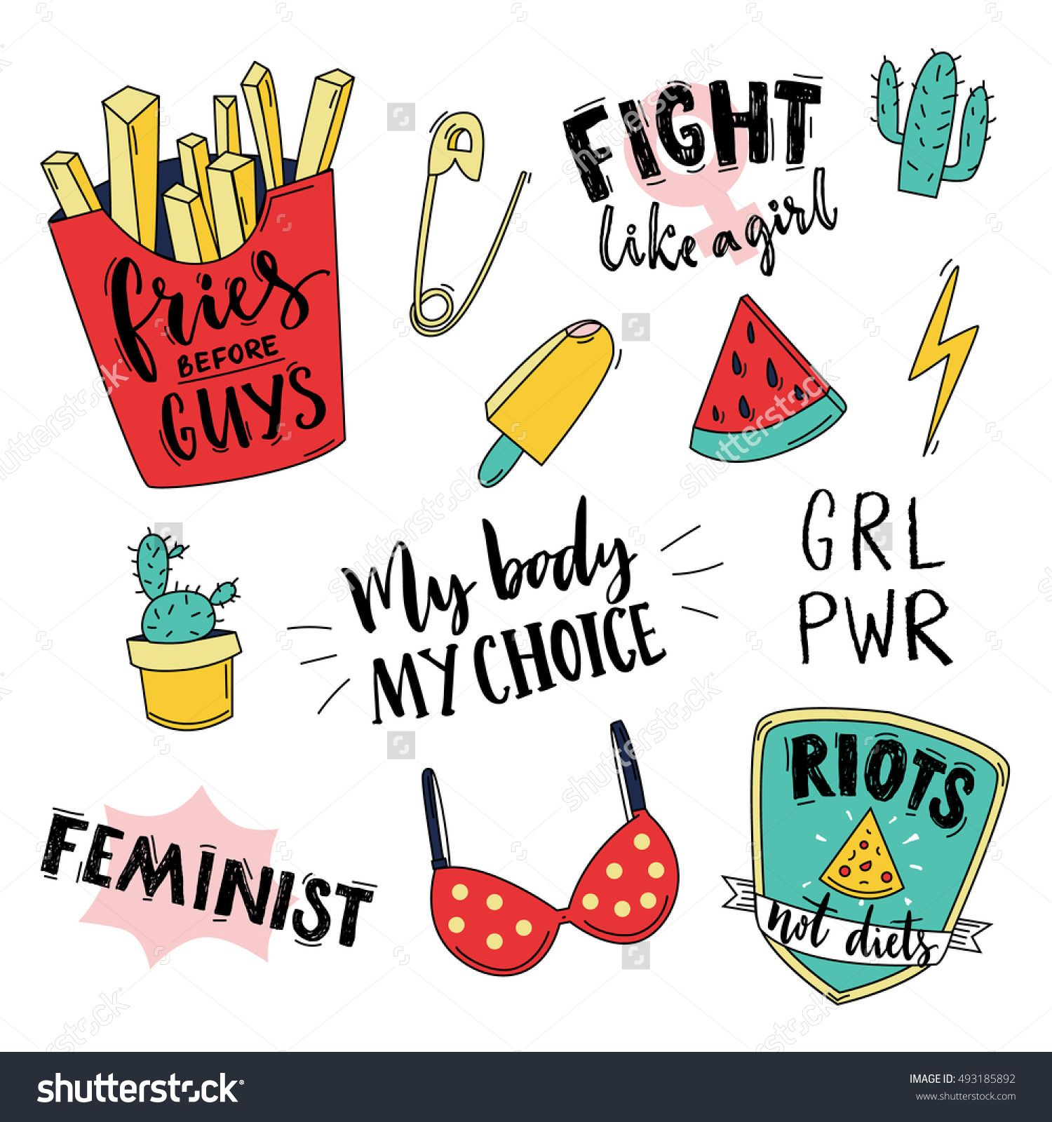 Feminism slogan and patches. Vector 80s style design