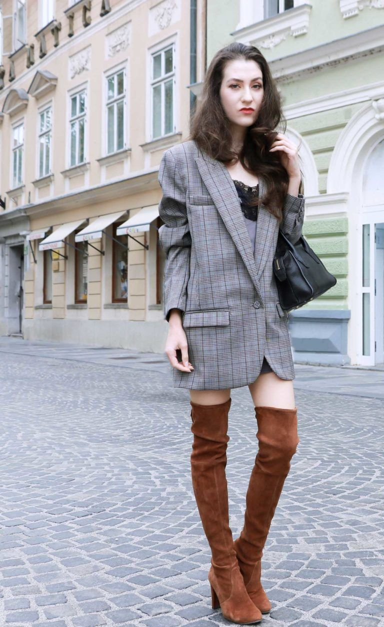 How to style otk boots with a blazer dress over the knee